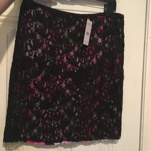 NWT BLACK LACE W/FLORAL UNDERLAY FREE PEOPLE SKIRT